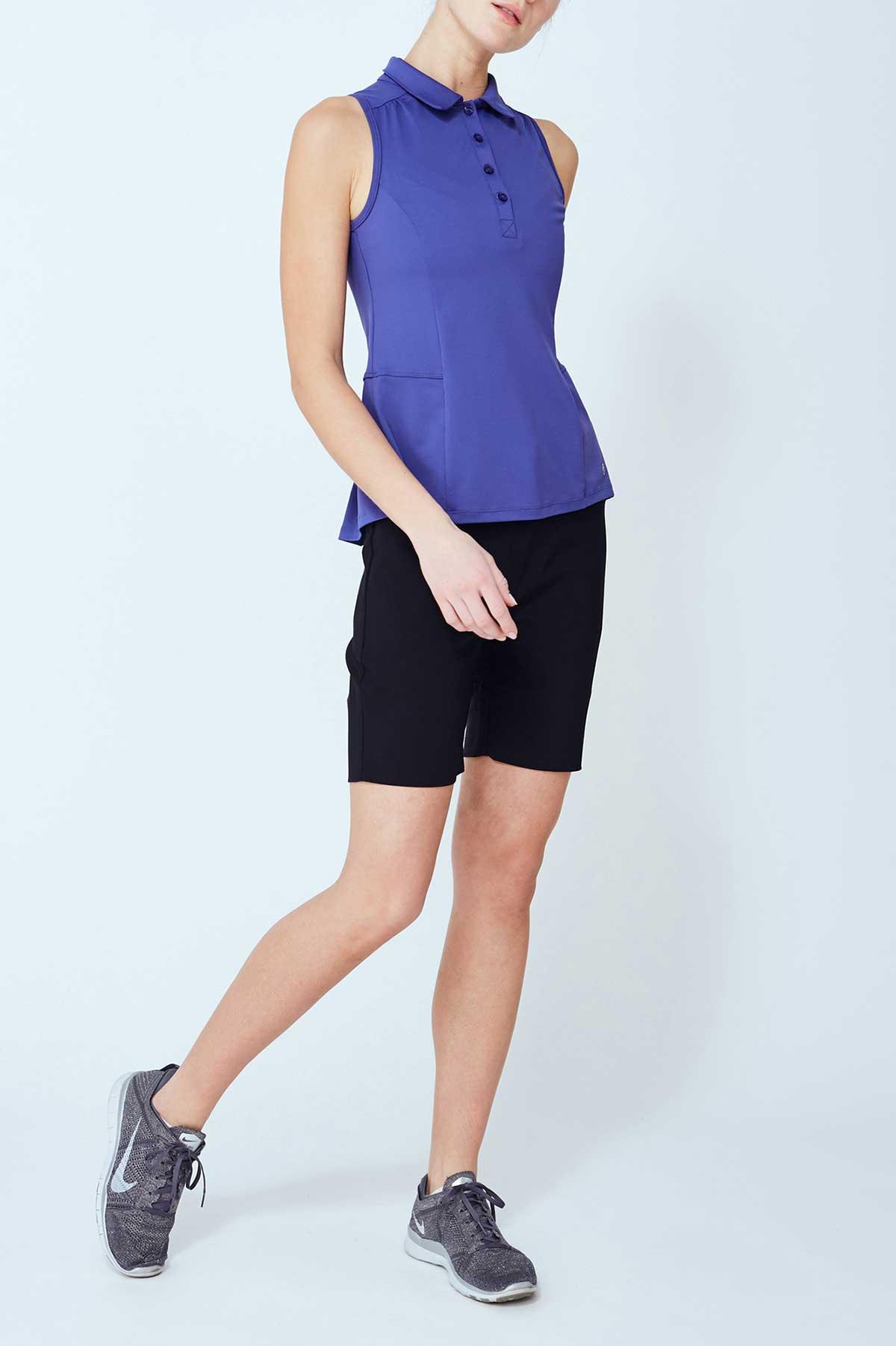 Lija Women's Elite Pleated Sleeveless Royal Blue Polo