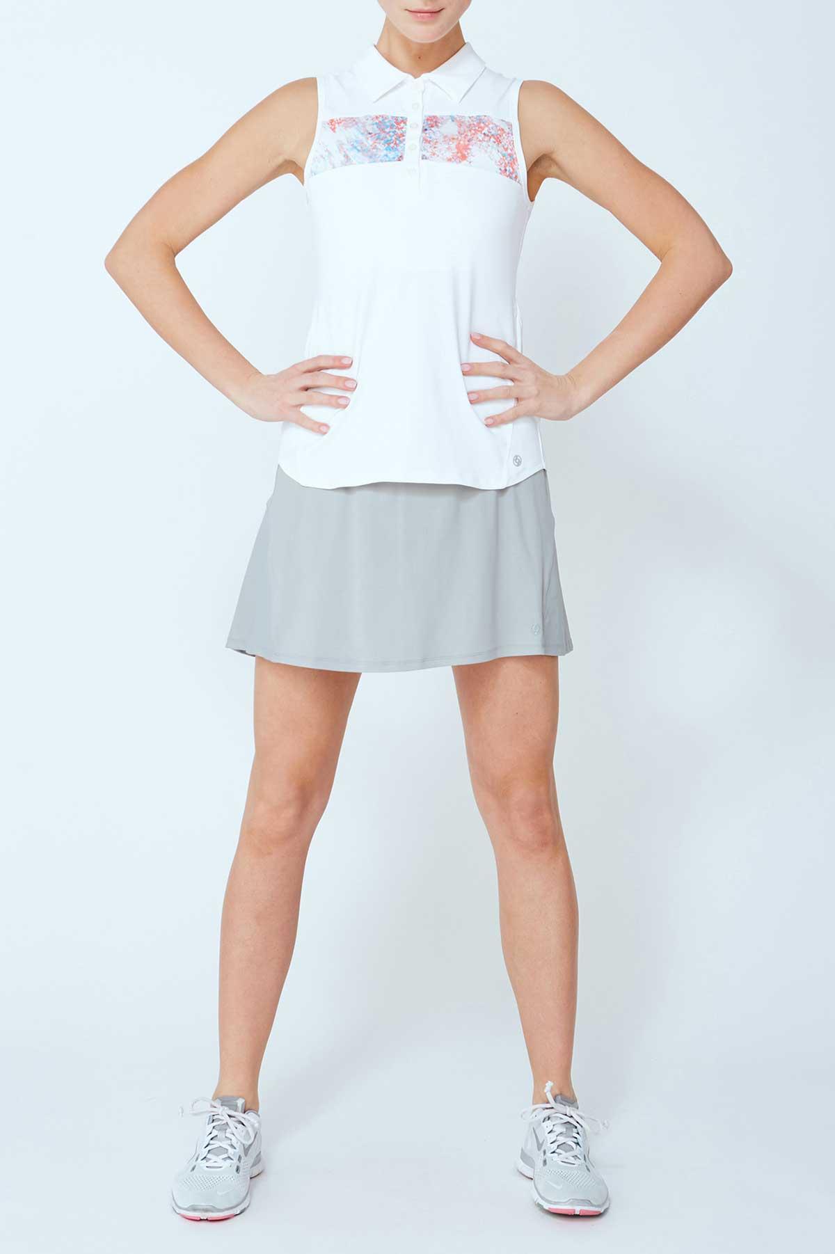 Lija Women's Elite Divide White Sleeveless Polo