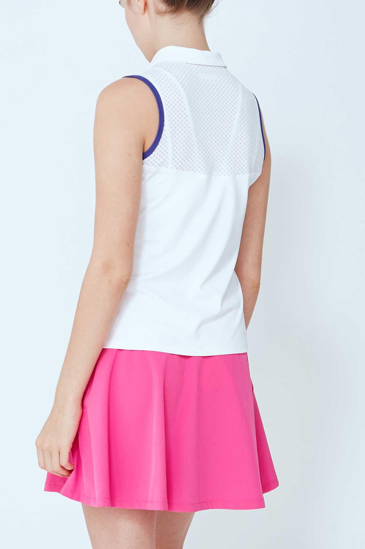 Lija Women's Align White Sleeveless Polo