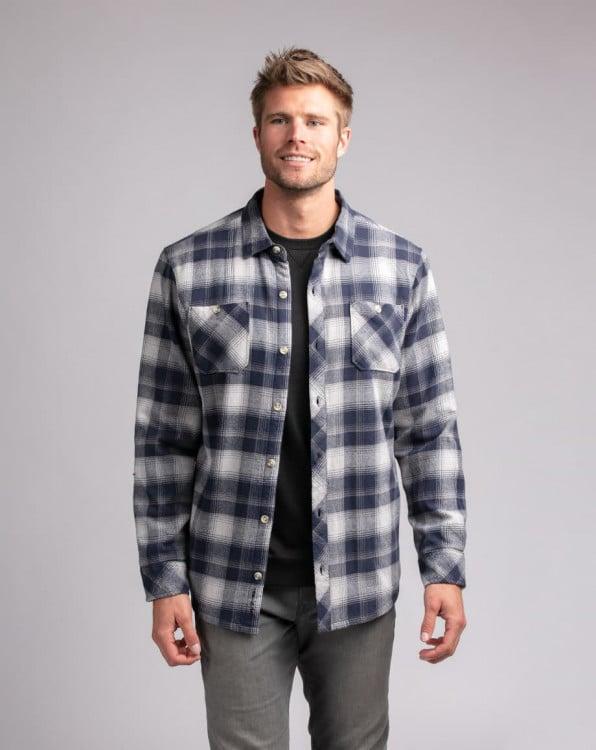 Travis Mathew Hit the Deck Mood Indigo Flannel Button Up