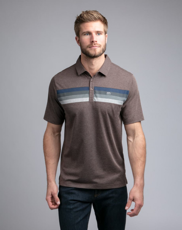 Travis Mathew Auto Pilot Heather Coffee Polo