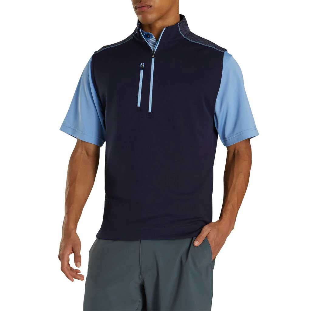FootJoy Half-Zip Heather Blocked Navy Vest