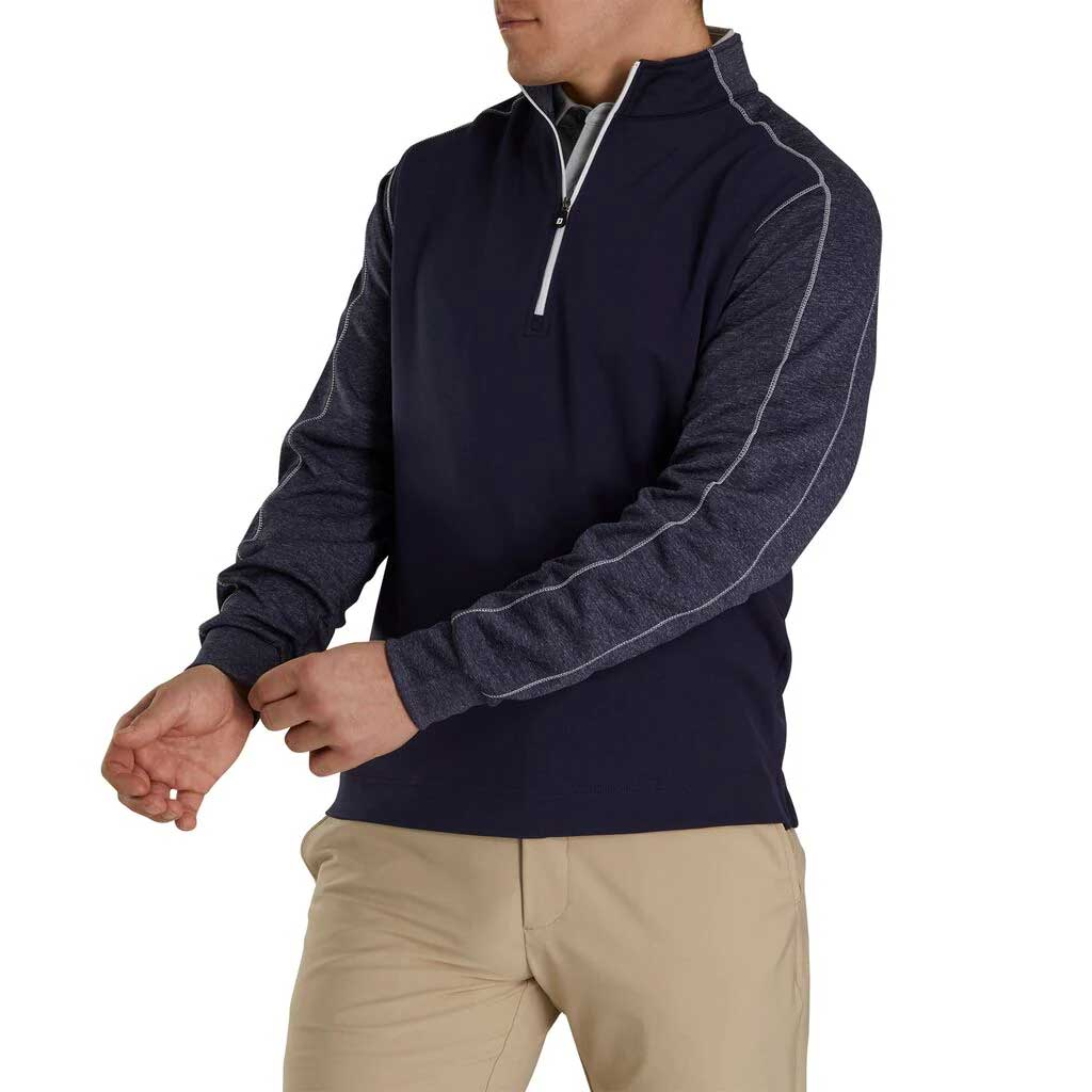 FootJoy Tonal Heather Mid-Layer Navy Pullover