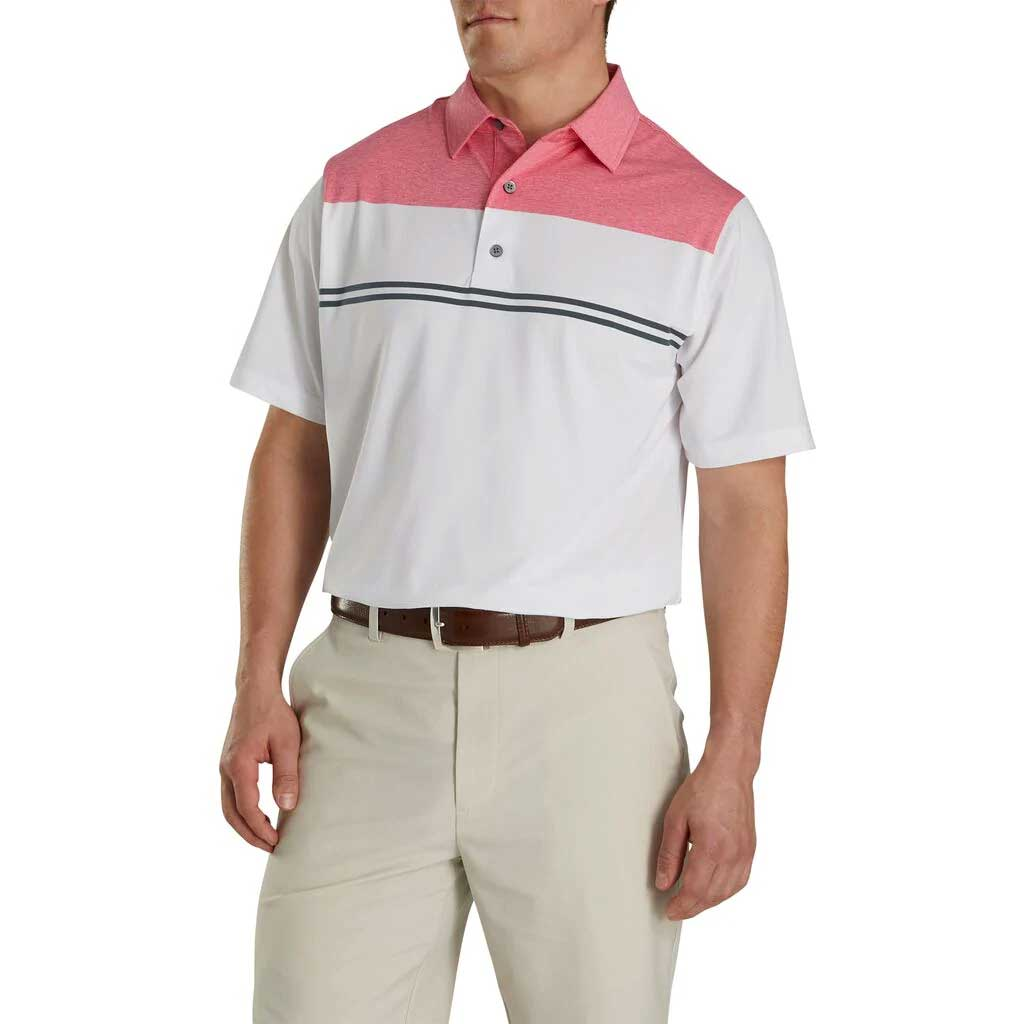 FootJoy Heather Color Block Lisle White/Heather Pink/Charcoal Polo
