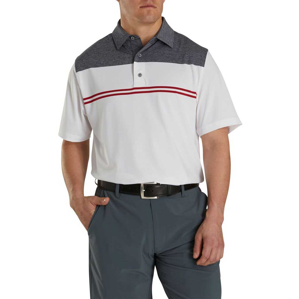 FootJoy Heather Color Block Lisle White/Heather Navy/Red Polo
