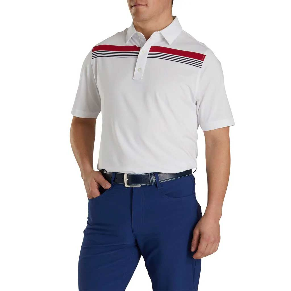 FootJoy Athletic Fit Lisle Engineered ChestBand White Polo