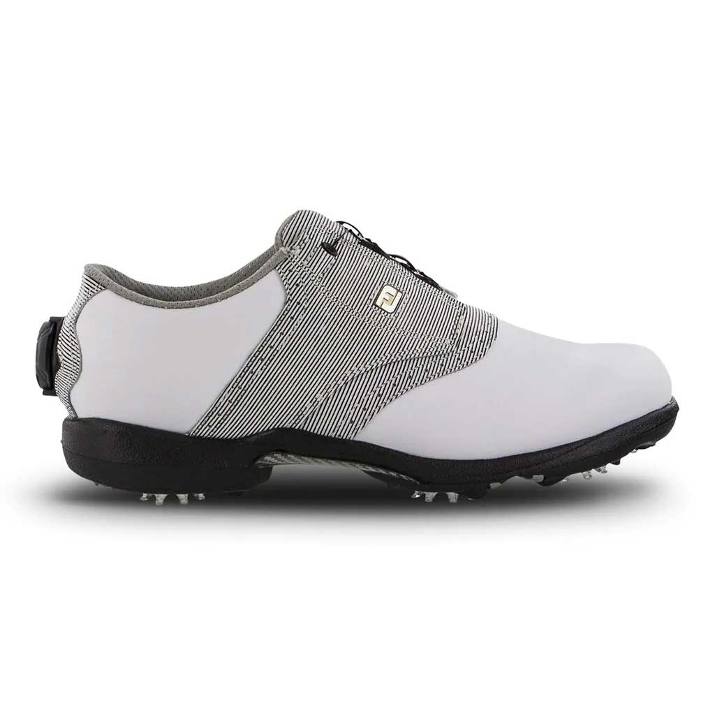FootJoy Women's DryJoys BOA White/Black Print Golf Shoe (Disc. #99018)