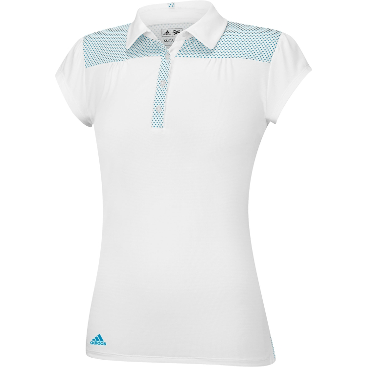 adidas Girls PureMotion Dot Yoke White/Blue Golf Polo