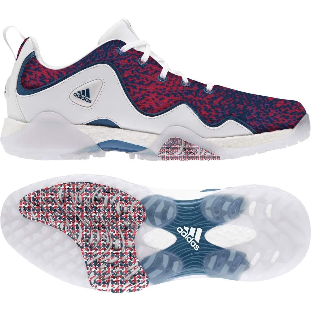 Adidas Men's Codechaos 21 Primeblue Spikeless Golf Shoe - White/Scarlet