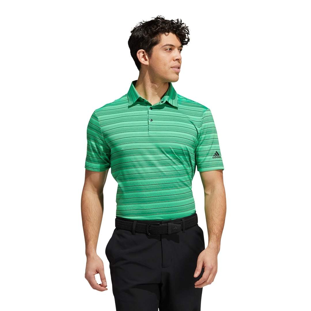 Adidas Men's Heather Snap Polo - Screaming Green/Black
