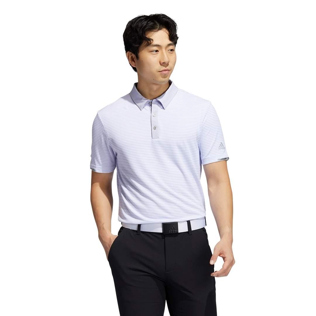 Adidas Men's HEAT.RDY Micro-Stripe Polo - Violet Tone/White