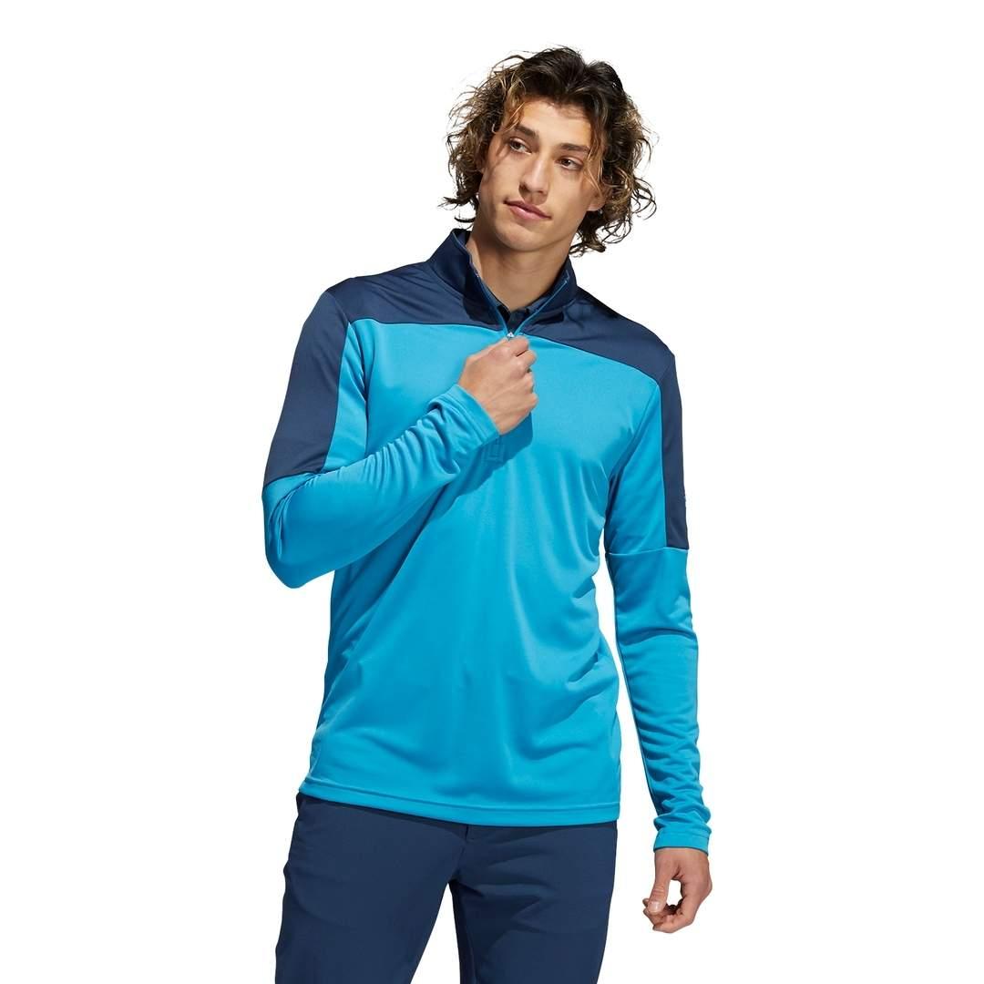 Adidas Men's Lightweight UV Quarter-Zip Sweatshirt - Sonic Aqua