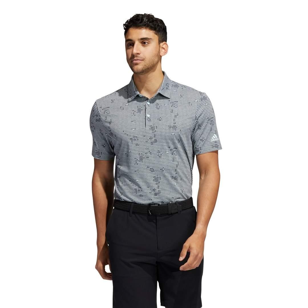 Adidas Men's Night Camo-Print Primegreen Polo - Black/Halo Mint
