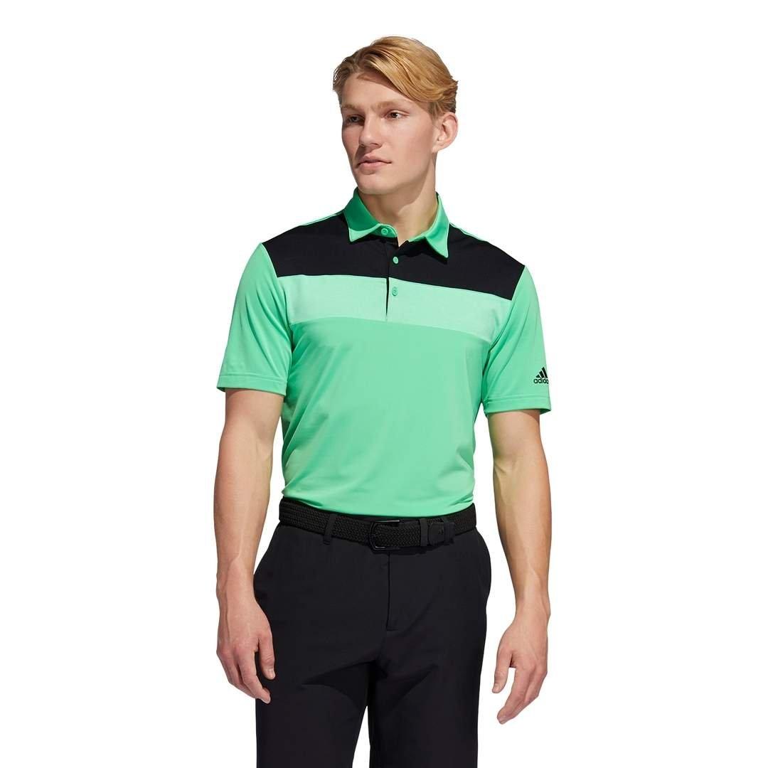 Adidas Men's Novelty Colorblock Primegreen Polo - Screaming Green