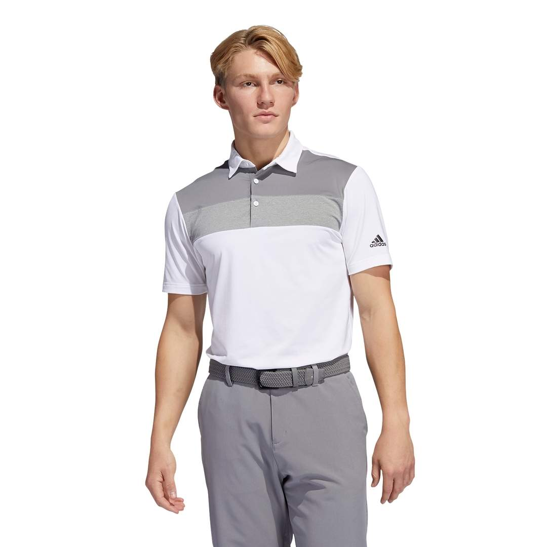 Adidas Men's Novelty Colorblock Primegreen Polo - White