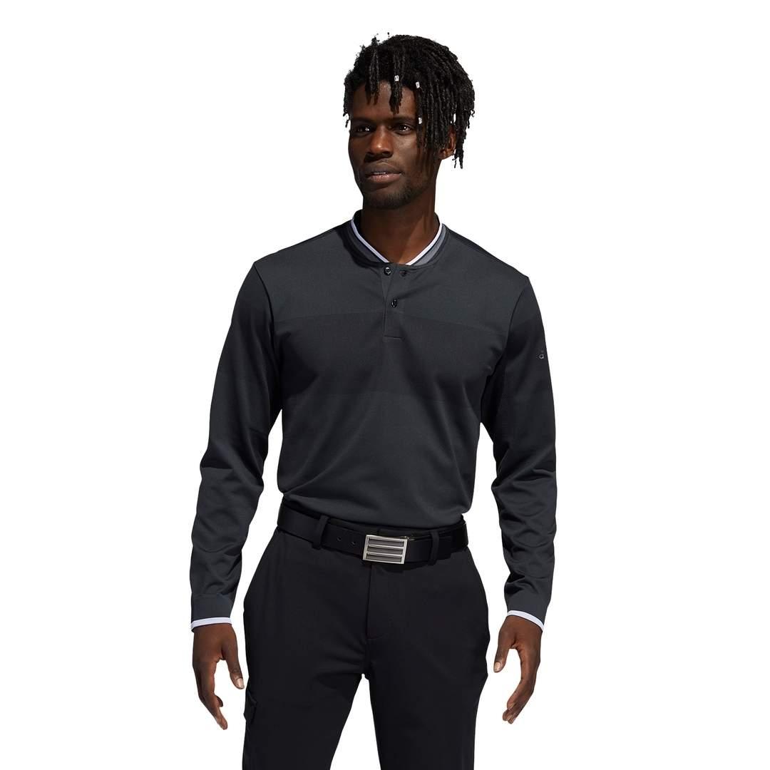 Adidas Men's Primegreen Primeknit Long Sleeve Polo - Carbon/Black