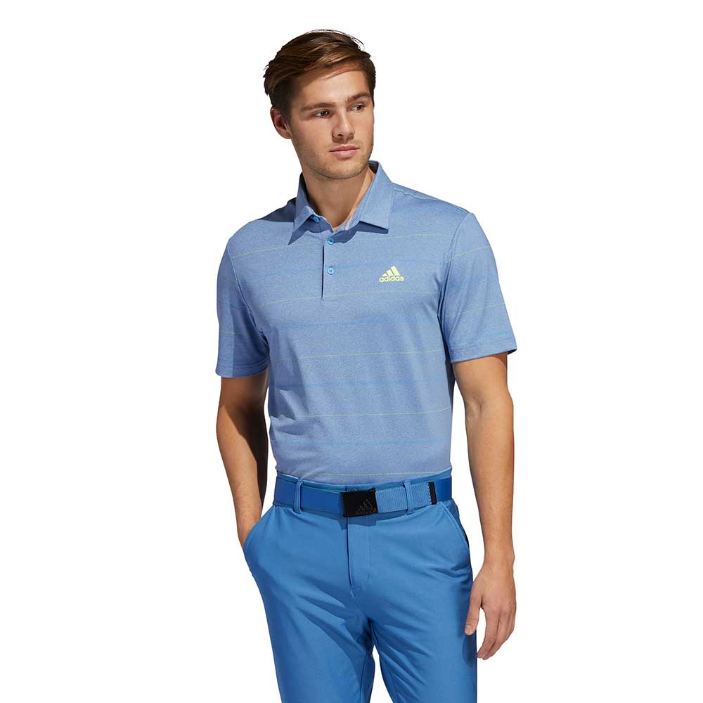 Adidas Men's Ultimate365 Heathered Stripe Trace Royal Polo