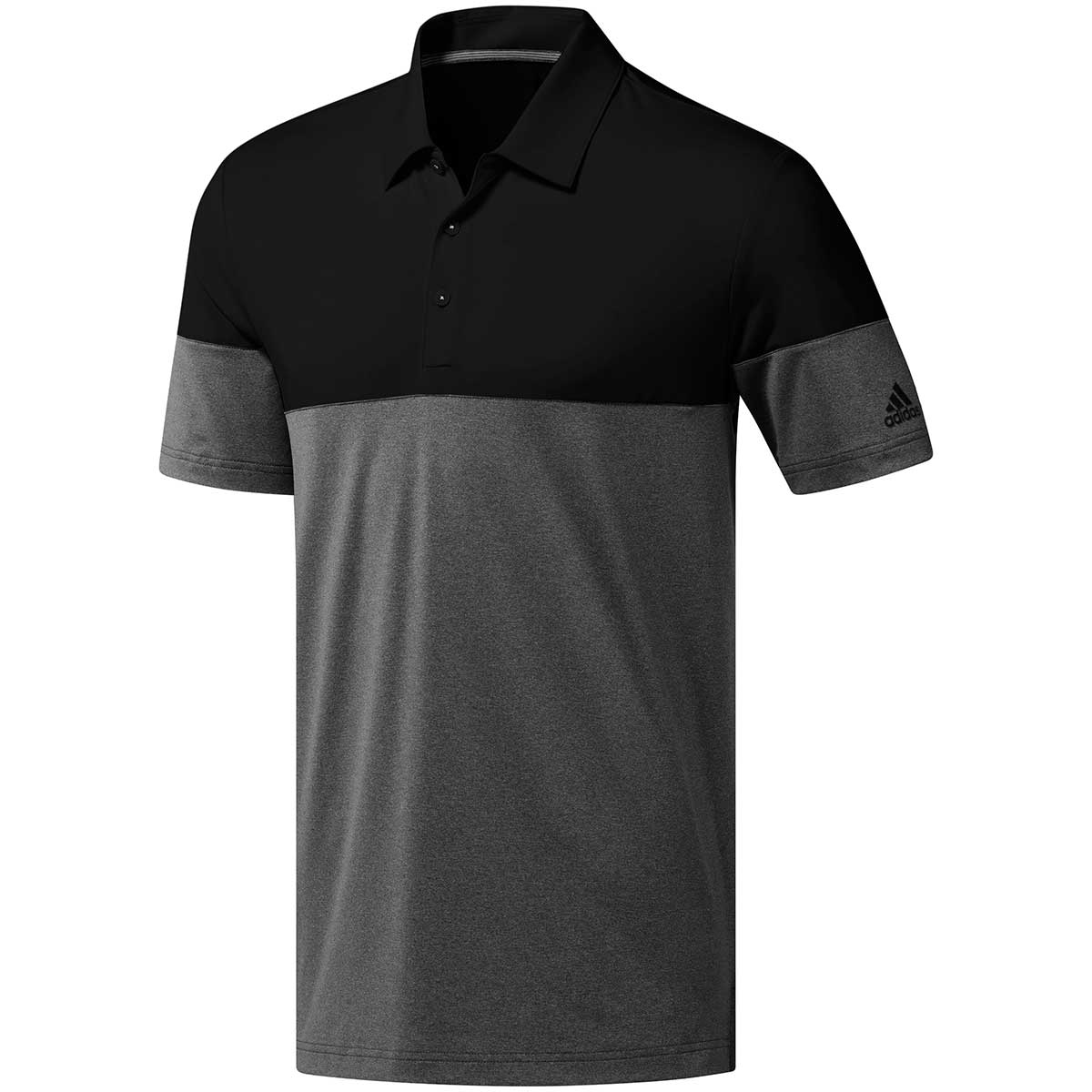 Adidas Ultimate365 Heather Blocked Polo Shirt - Black/Grey Five