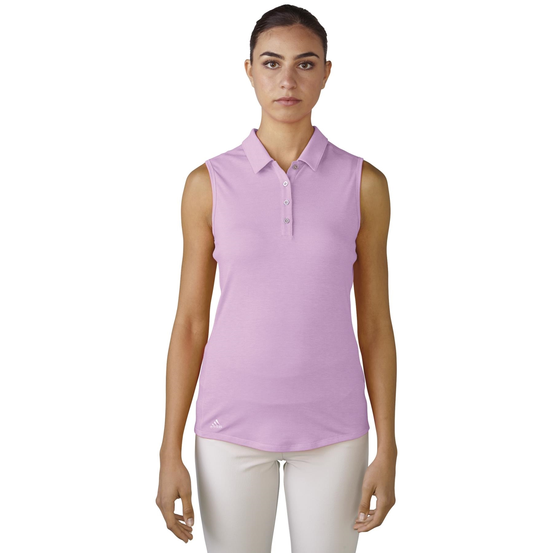 adidas Women's Climalite Essentials Heather Sleeveless Orchid Golf Polo