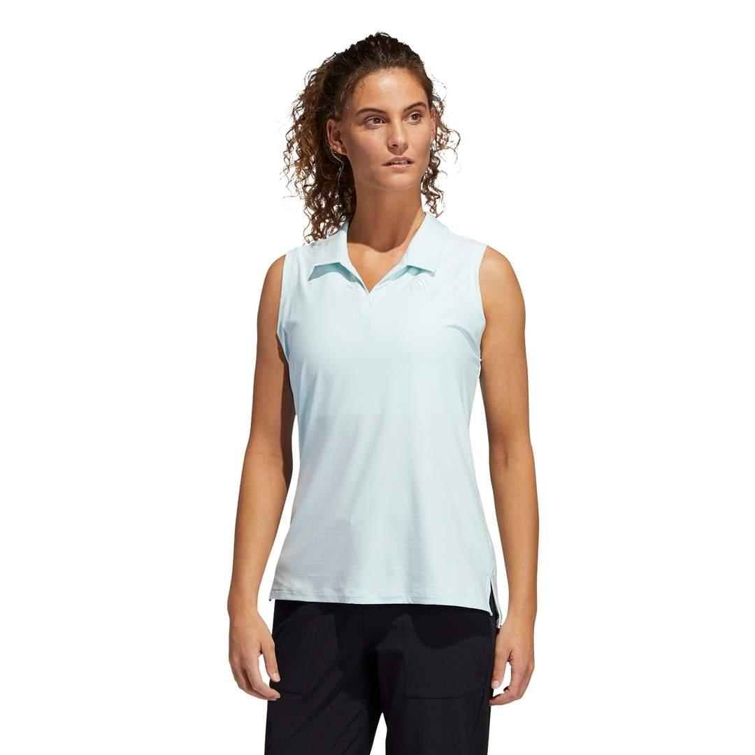 Adidas Women's Go-To Primegreen Sleeveless Polo - Halo Mint/White