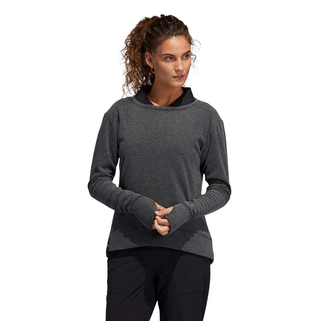Adidas Women's Heathered Fleece Primegreen Crew Sweatshirt - Black