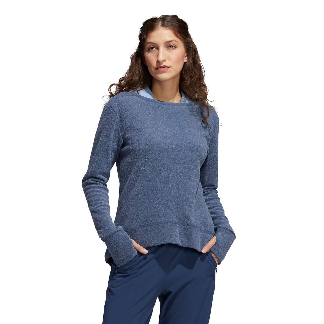 Adidas Women's Heathered Fleece Primegreen Crew Sweatshirt - Crew Navy