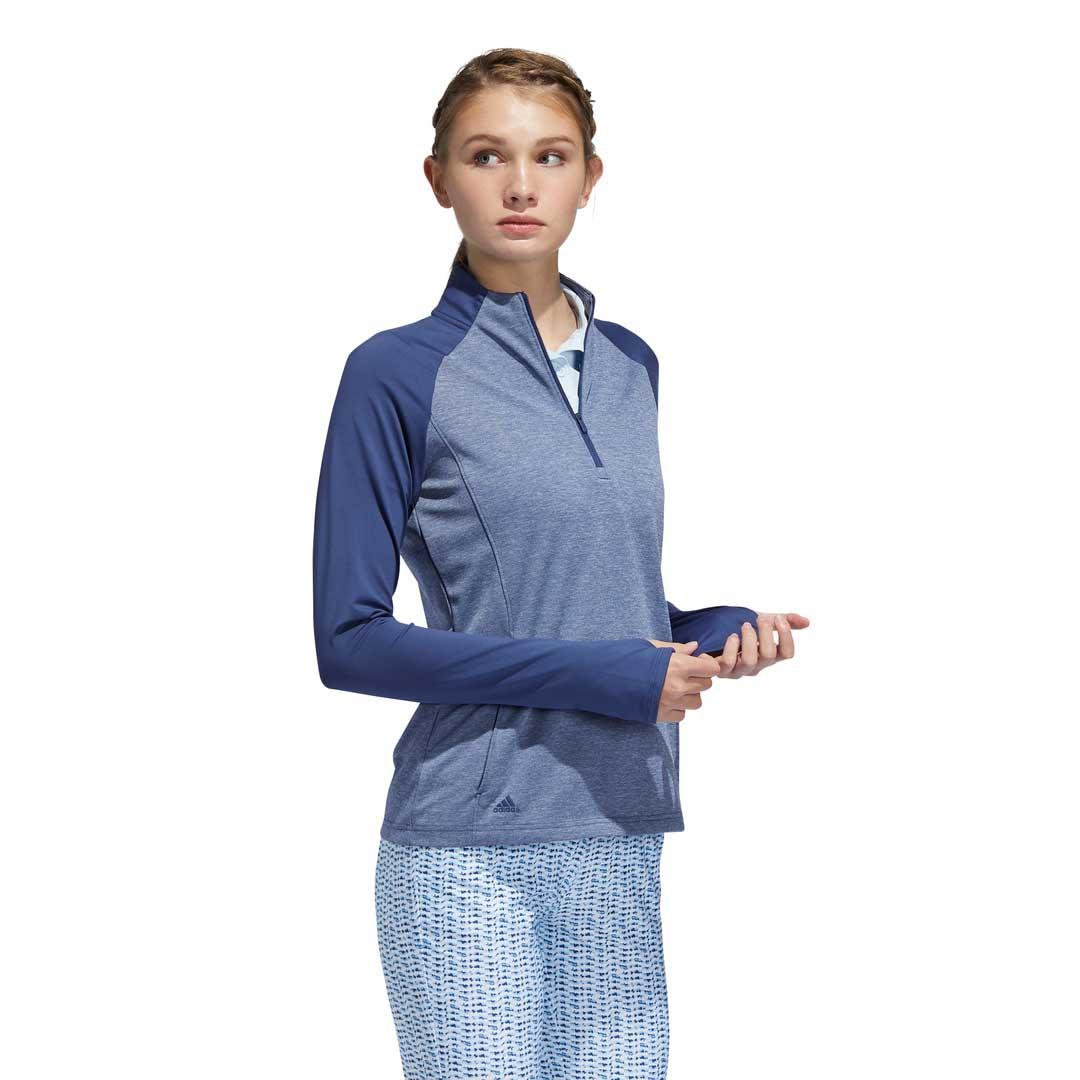 Adidas Women's Heathered Half-Zip Tech Indigo Layering Pullover