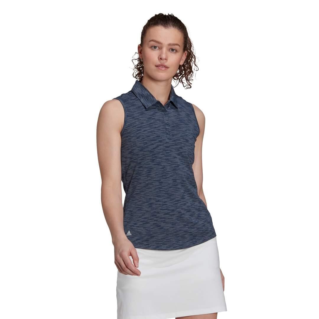 Adidas Women's Space-Dye Sleeveless Polo - Crew Navy/White
