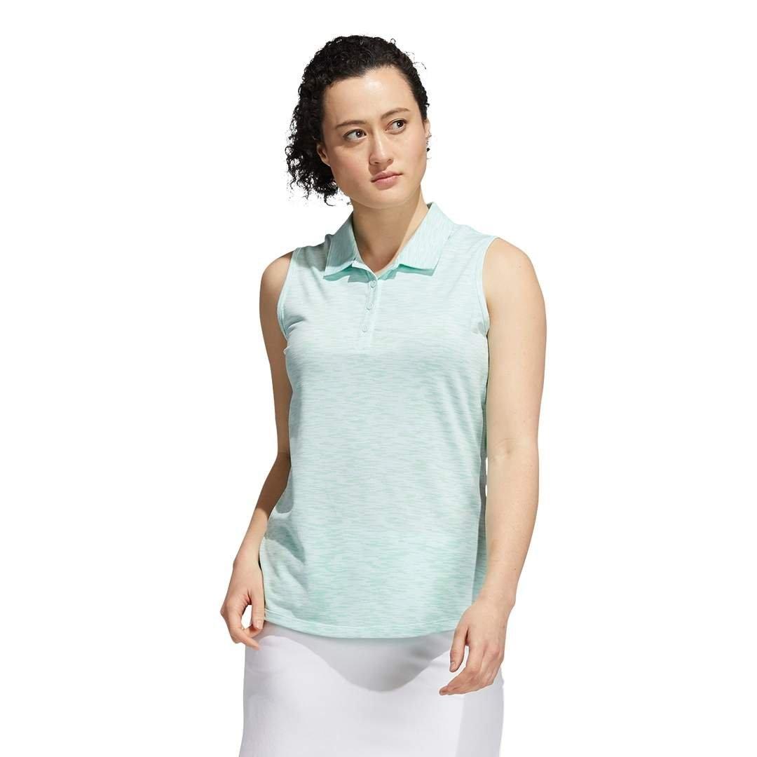 Adidas Women's Space-Dye Sleeveless Polo - Halo Mint/Screaming Green