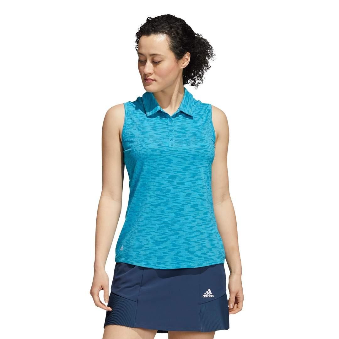 Adidas Women's Space-Dye Sleeveless Polo - Sonic Aqua
