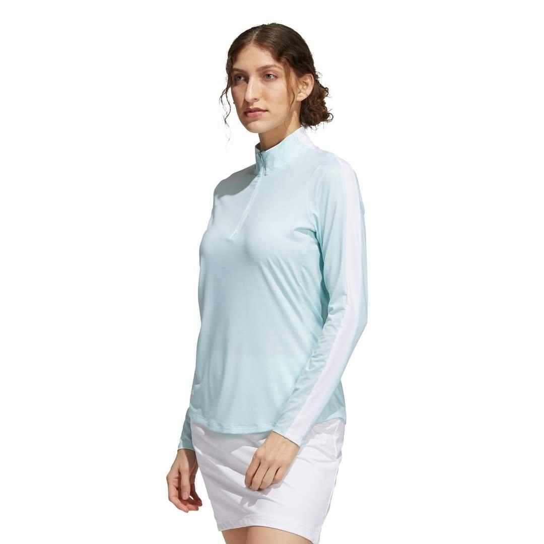 Adidas Women's Sun Protection Primegreen Long Sleeve Golf Shirt - White/Halo Mint