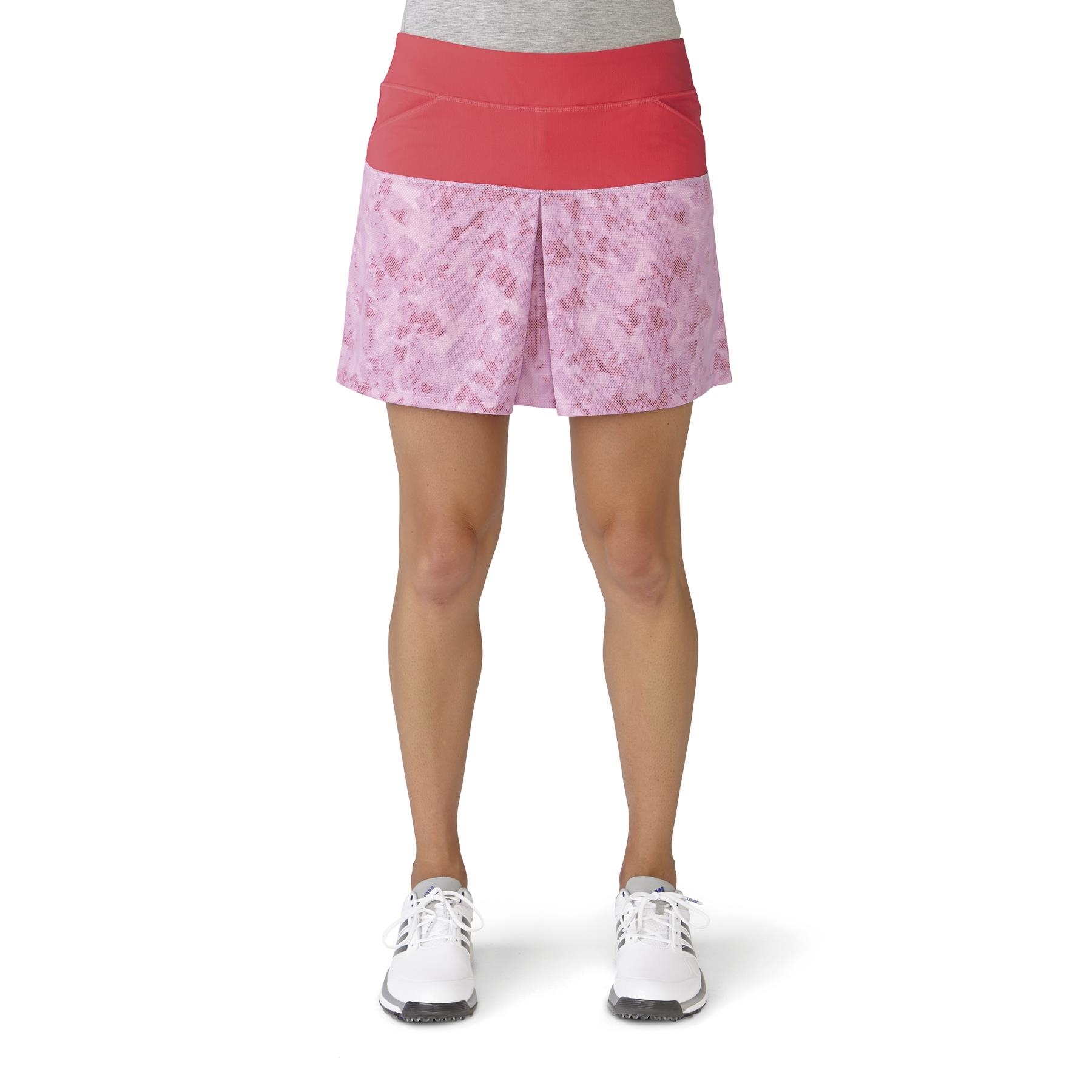 adidas Women's Tour Mixed Print Pull On Red Golf Skort