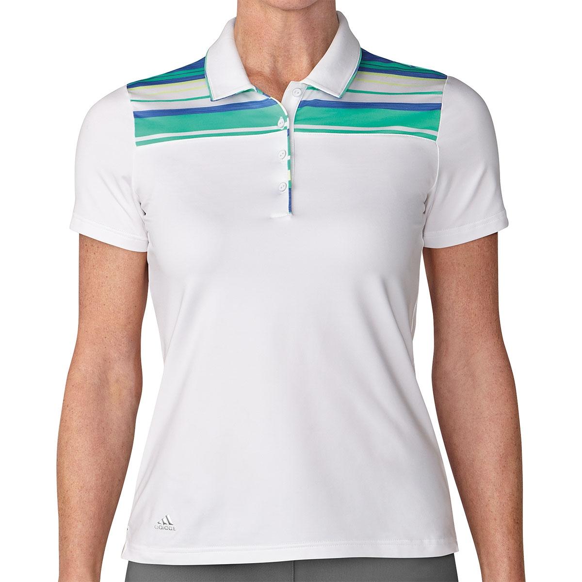 Adidas Womens Ultimate365 Merch Stripe White/Green Polo