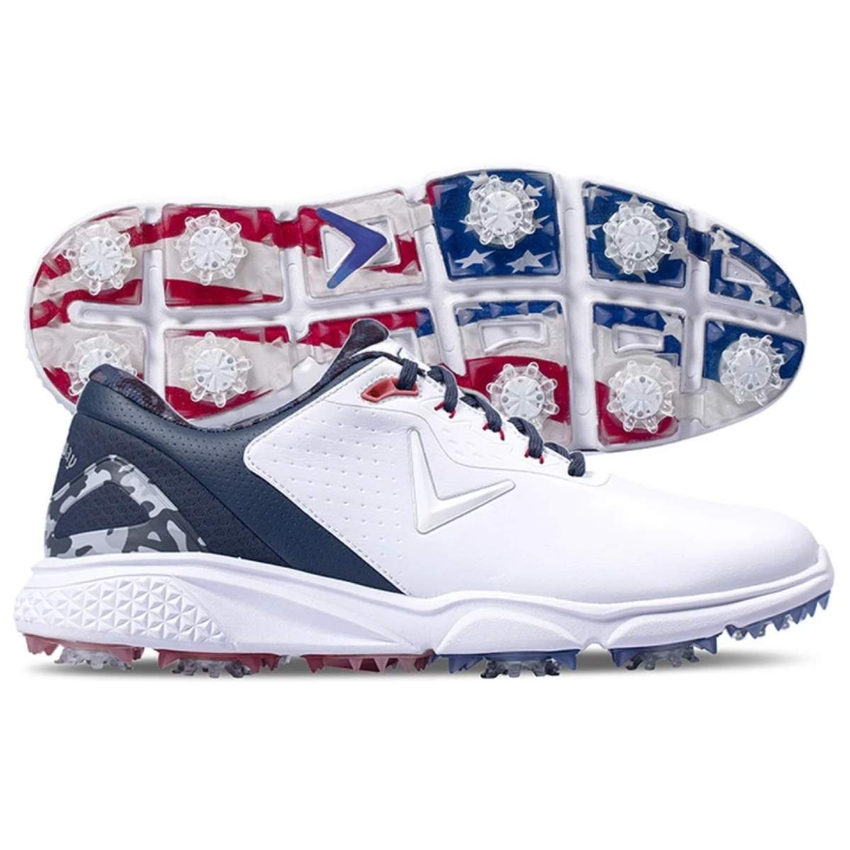 Callaway Men's Coronado V2 Golf Shoe - White/Blue/Red