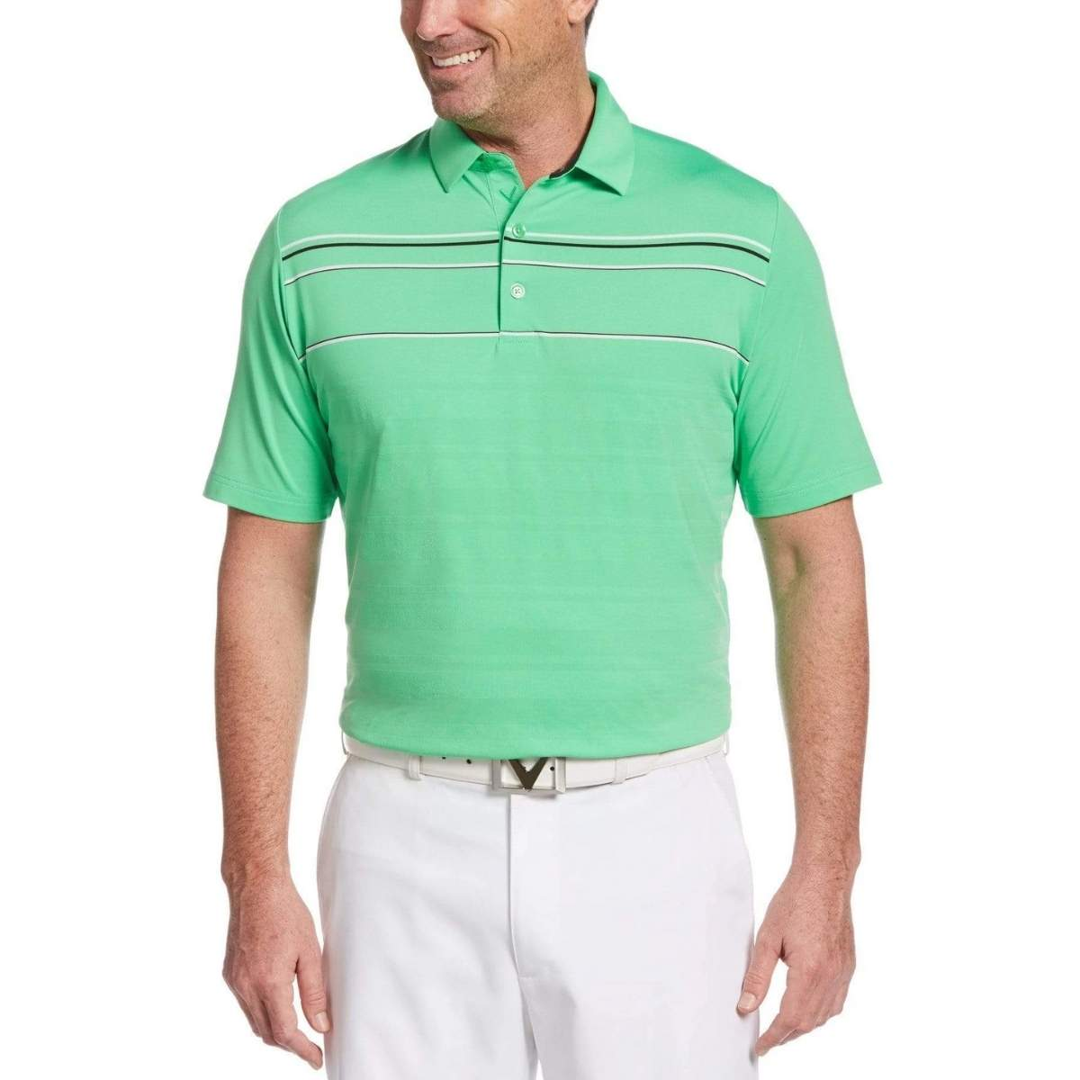 Callaway Mens Engineered Stripe Textured Chest Swing Tech Polo