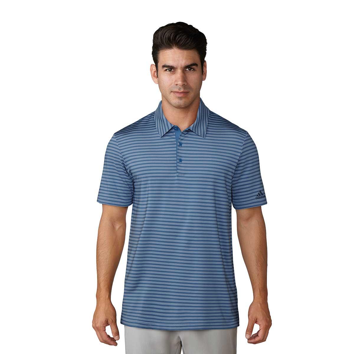 Adidas Ultimate365 2-Color Stripe Golf Polo - Blue