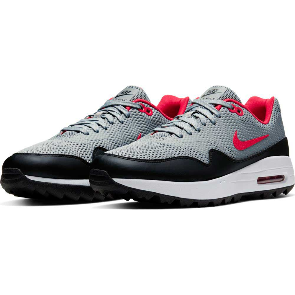 Nike Men's 2020 Air Max 1 G Grey/Red/Black Golf Shoe