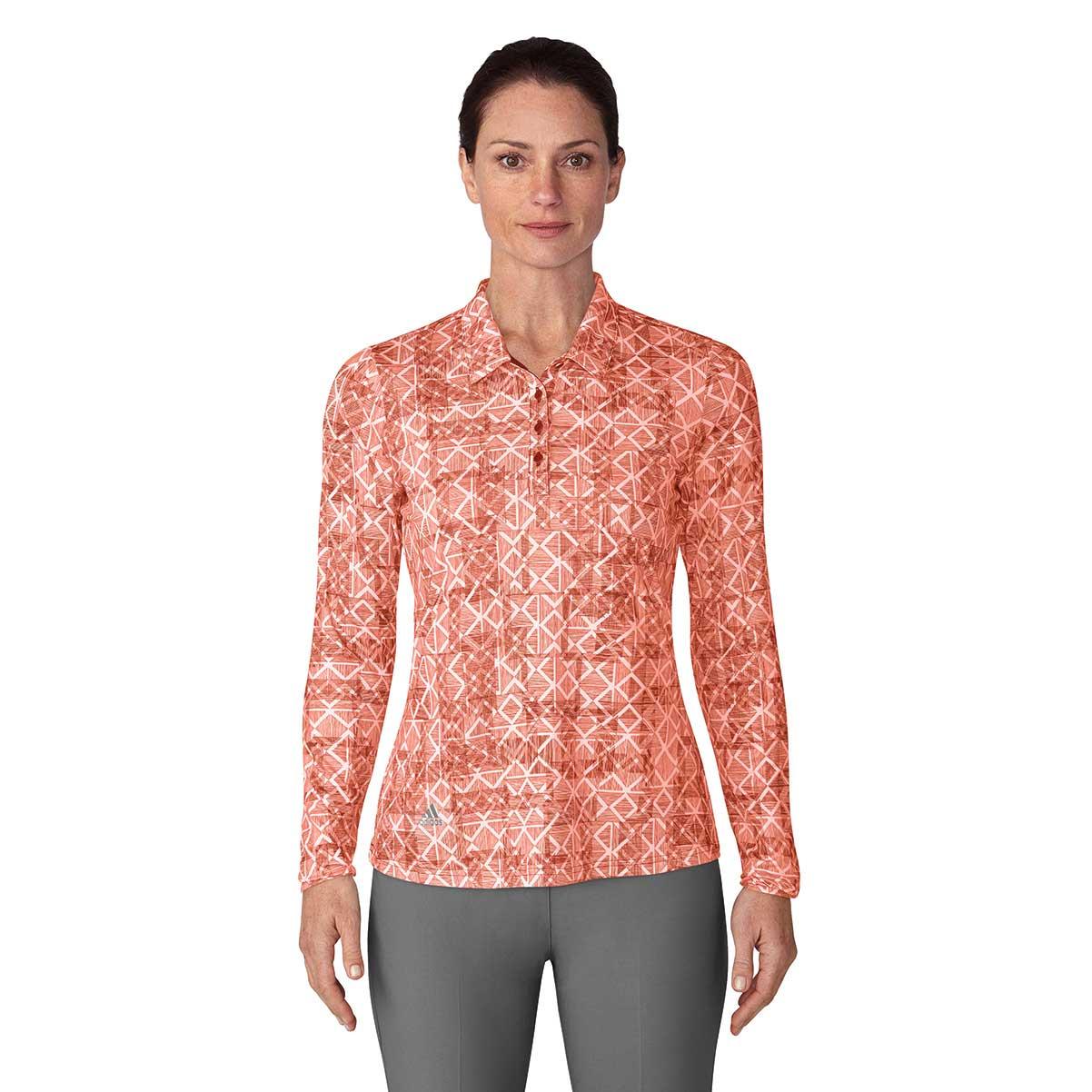 Adidas Women's UPF Printed Long Sleeve Polo - Coral