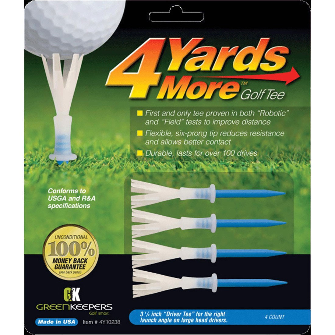 "Green Keepers 4 Yards More 3 1/4"" Golf Tee"