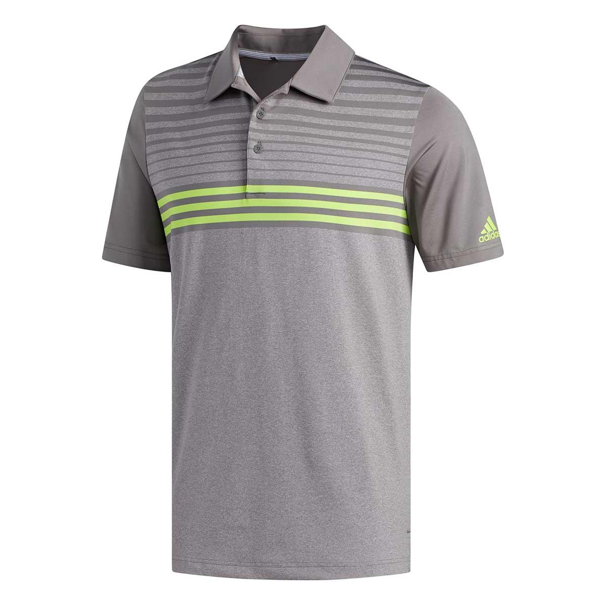 Adidas Ultimate 3-Stripe Heather Gradient Grey/Solar Polo
