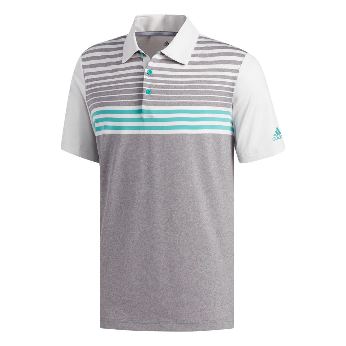 Adidas Ultimate 3-Stripe Heather Gradient Grey/White/Green Polo