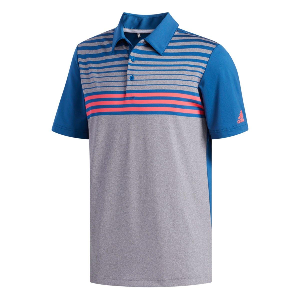 Adidas Ultimate 3-Stripe Heather Gradient Grey/Marine/Red Polo