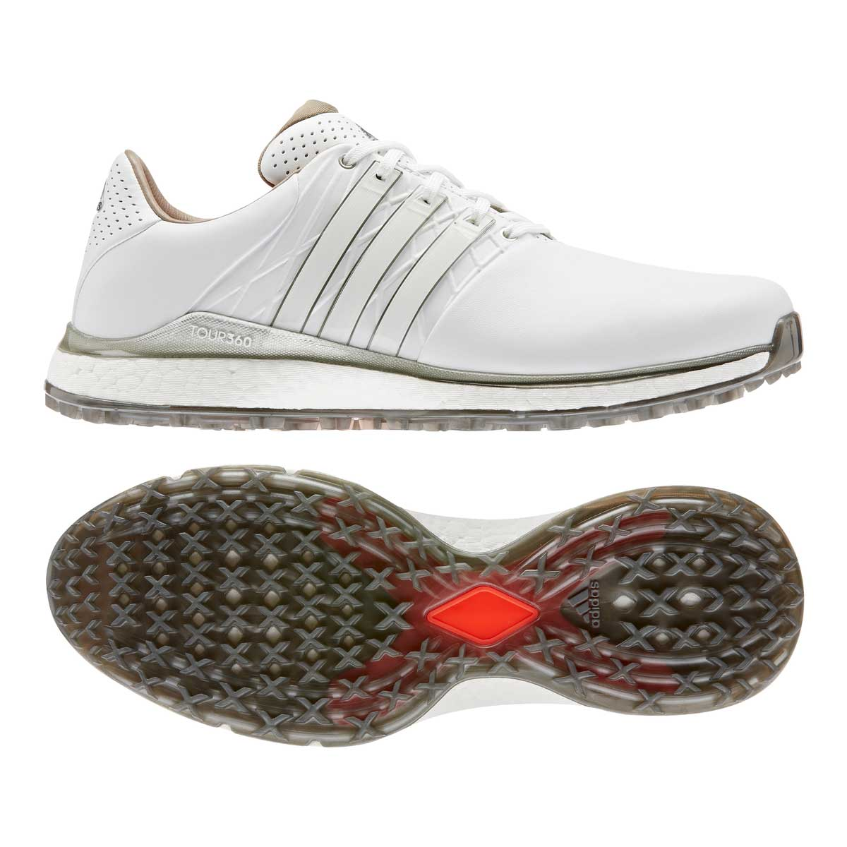 Adidas Men's TOUR360 XT-SL 2.0 White/Silver Spikeless Golf Shoes