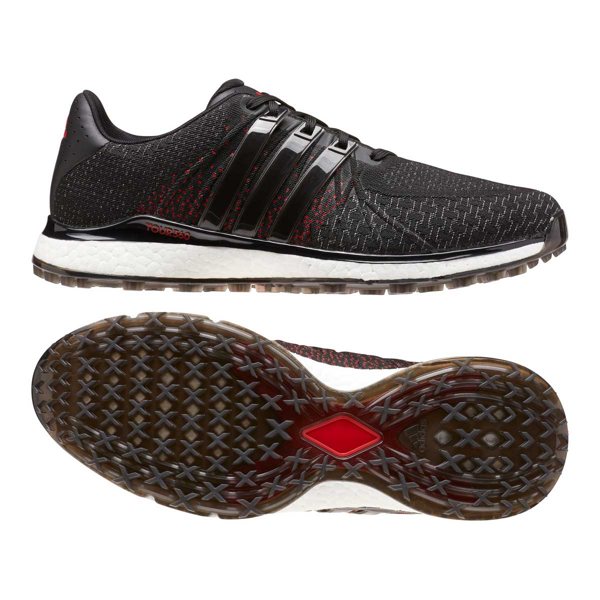 Adidas Men's TOUR360 XT-SL Black Spikeless Textile Golf Shoes