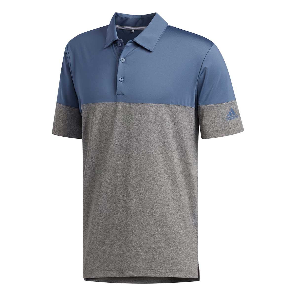Adidas Men's Ulltimate365 Heathered Blocked Grey Three Polo
