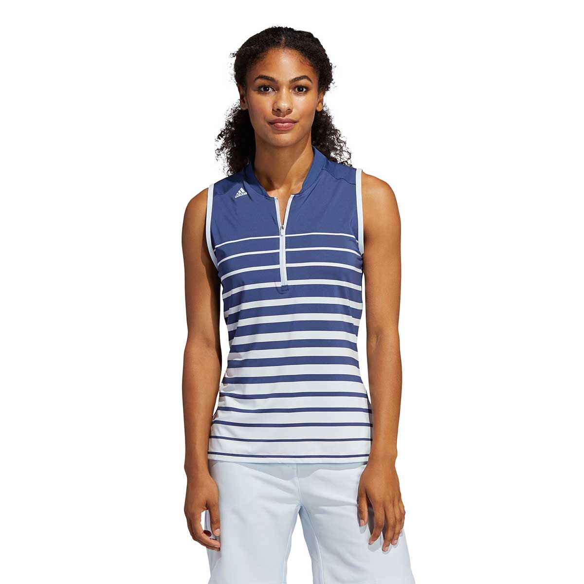 Adidas Women's Engineered Stripe Sleeveless Tech Indigo Polo