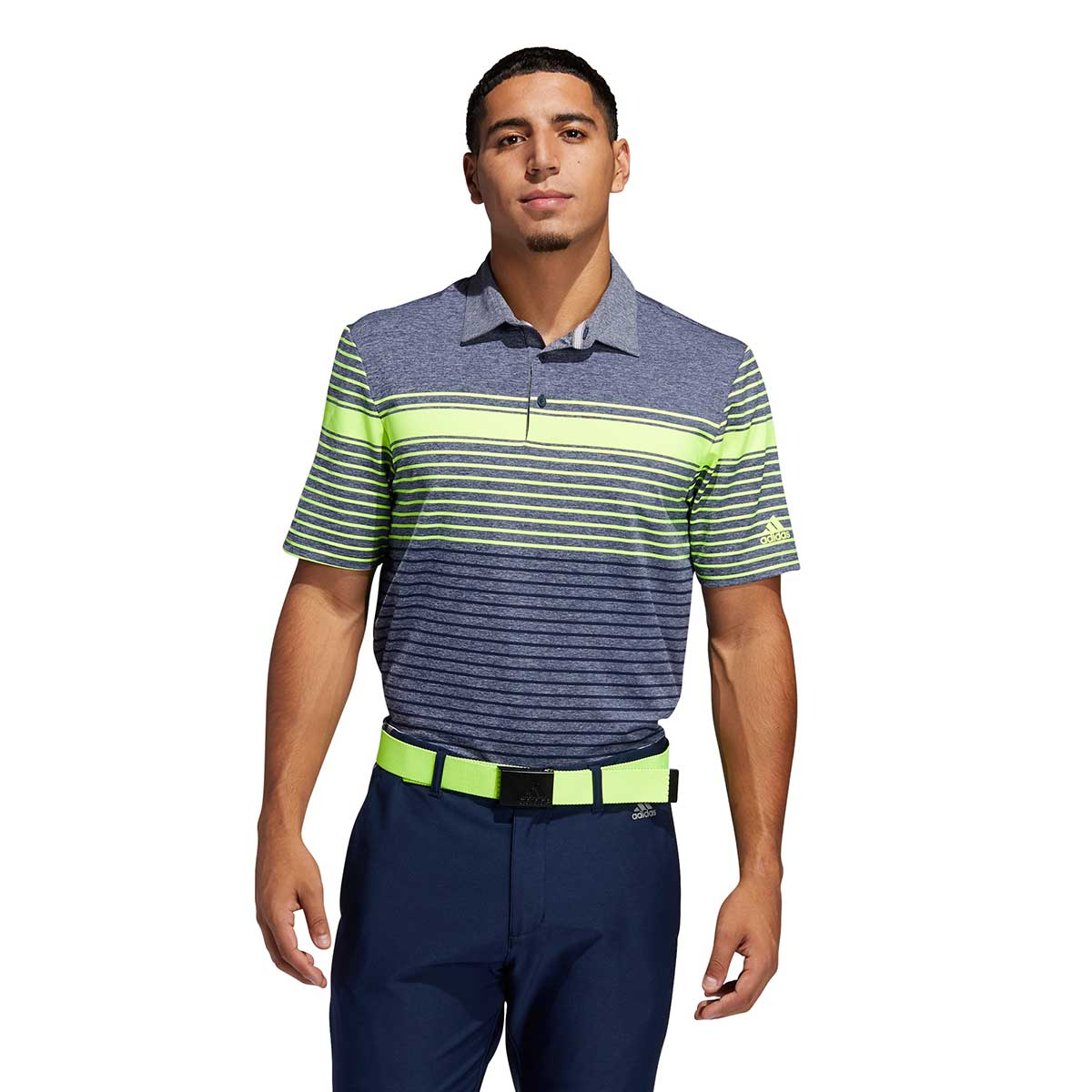 Adidas Men's Ultimate365 Engineered Heathered Navy/Solar Polo