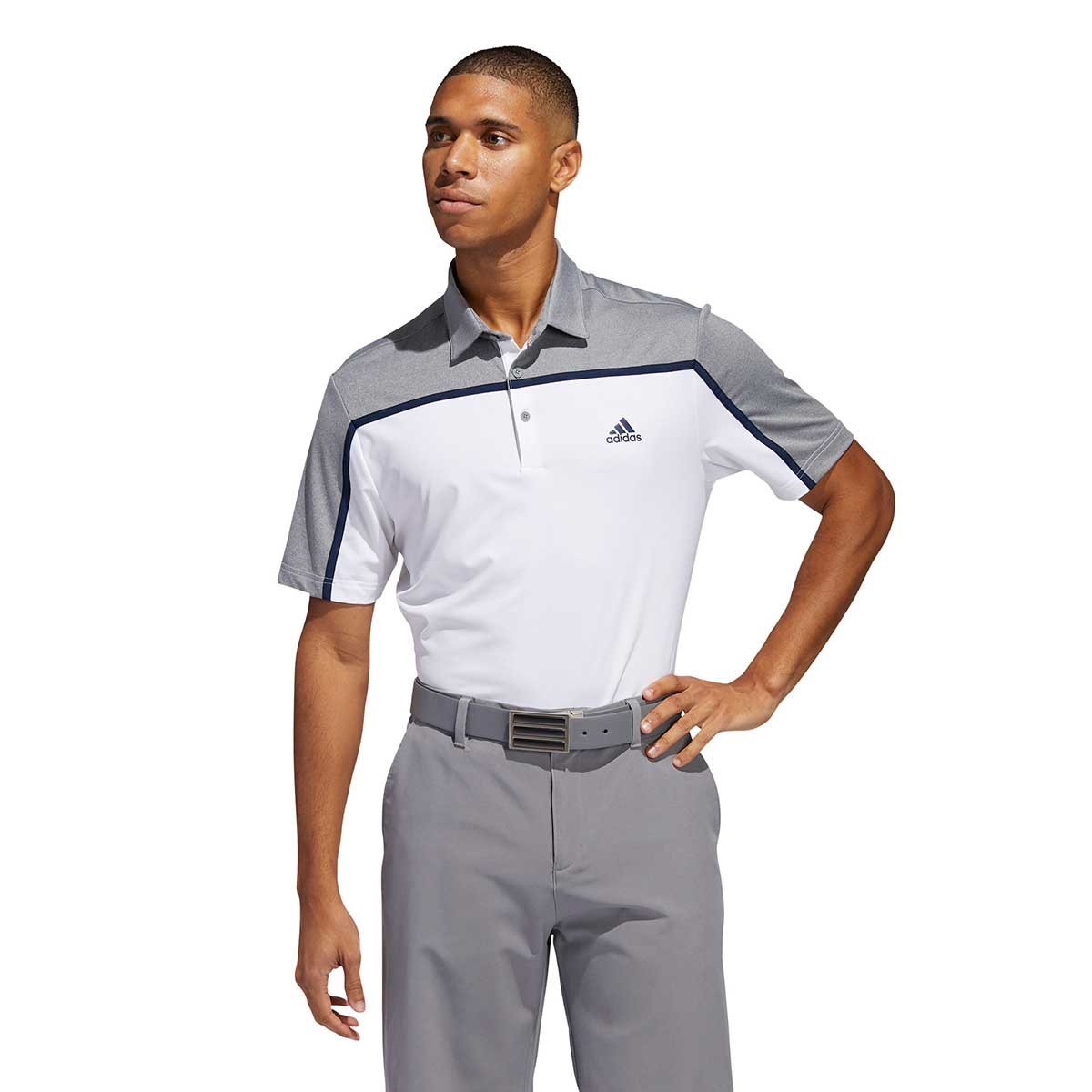 Adidas Men's Ultimate365 Colorblock White/Grey Polo