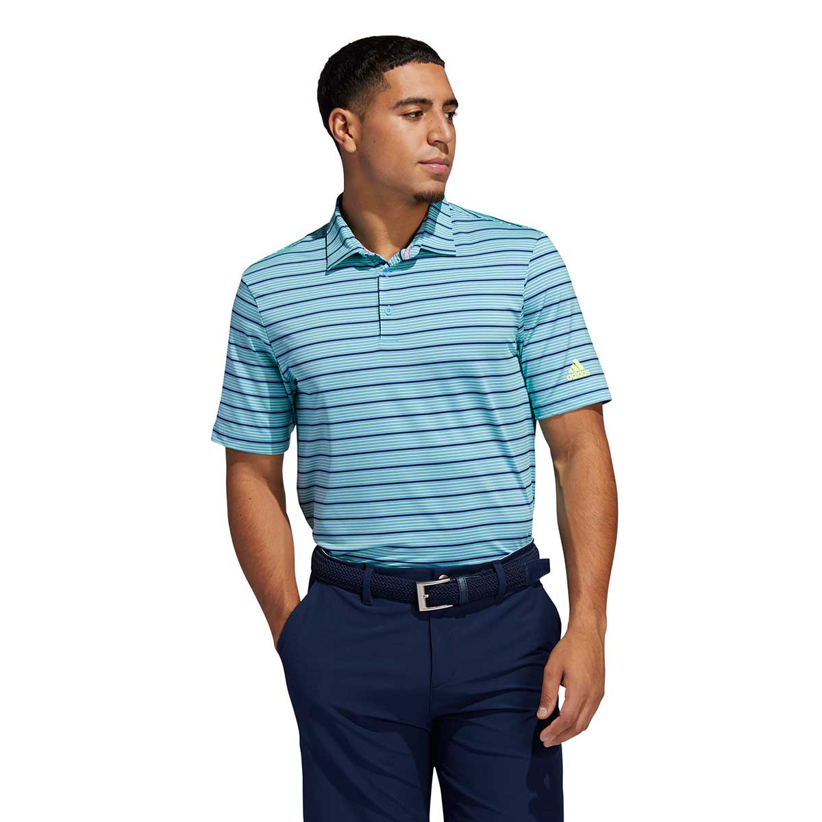 Adidas Men's Ultimate365 Pencil Stripe Light Blue/Navy Polo
