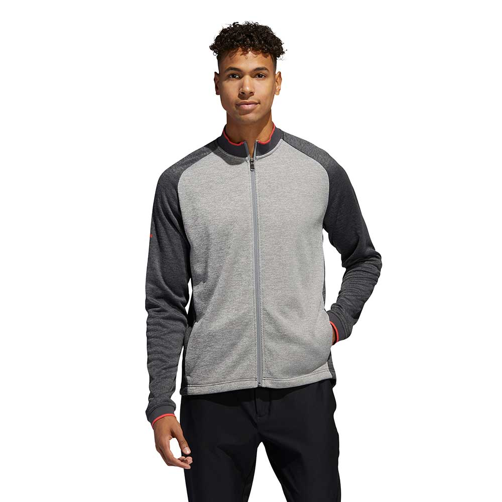 Adidas Men's Midweight Textured Black/Grey Jacket